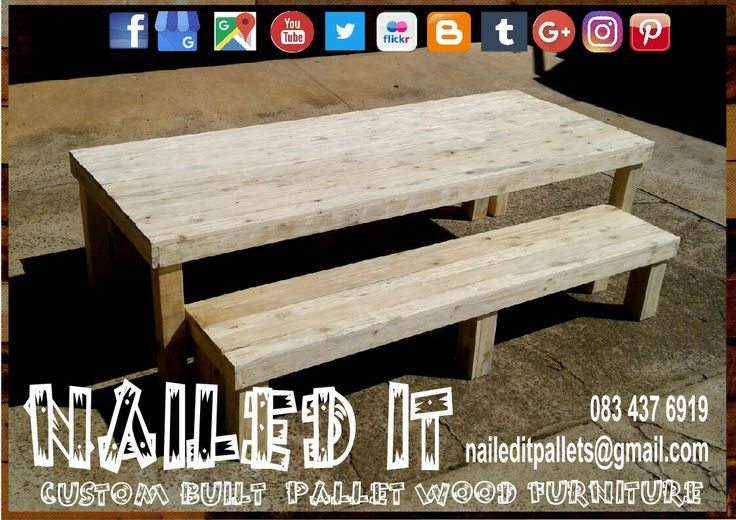 8 Seater pallet wood table with 2 x 4 seater benches #pallettable #palletbench #palletpatio #palletpatiofurniture #pallettableandbench #palletwoodtable #palletwoodbench #palletdiningtable #nailedpalletfurnituredurban #naileditcustombuiltpalletfurniture #customfurniture #custompalletfurnituredurban #palletfurnituredurban