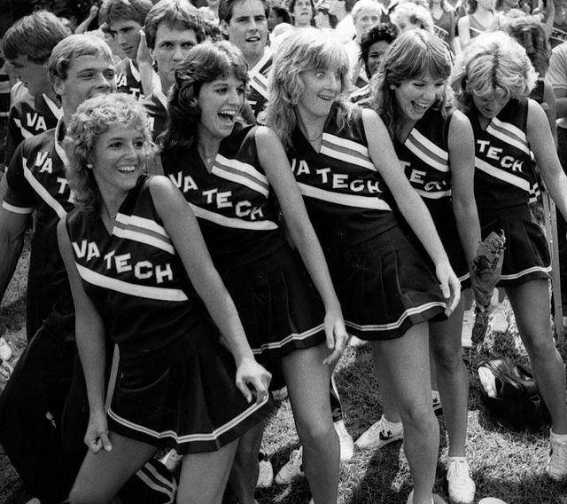 70s Cheerleaders with Farrah hairstyles! Watch the documentary 'The Truth Behind The Pompoms' - trailer on www.cheercoach.net