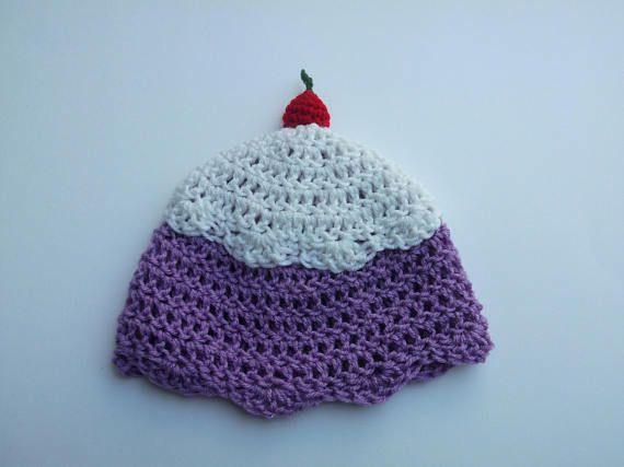 Grape Sorbet Kids Winter Hat Crochet Beanie With a Cherry on