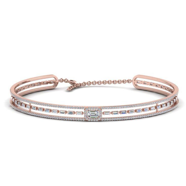 Baguette Choker Diamond Necklace In 14K Rose Gold