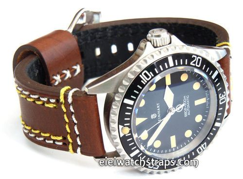 22mm Brown Leather watchstrap Double Stitched For Steinhart Ocean Vintage Military