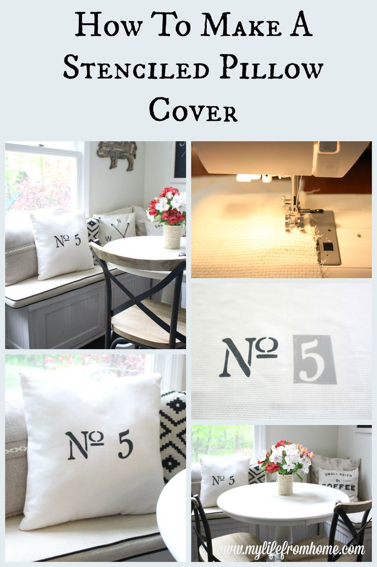 How to Make a Stenciled Pillow Cover | Easy DIY Update to Your Home Decor | Step by Step Instructions | My Life From Home | www.mylifefromhom...