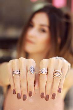 Como usar muitos anéis juntos FashionCoolture - 09.12.2015 look du jour Pandora rings baby pink top Burgundy (7)