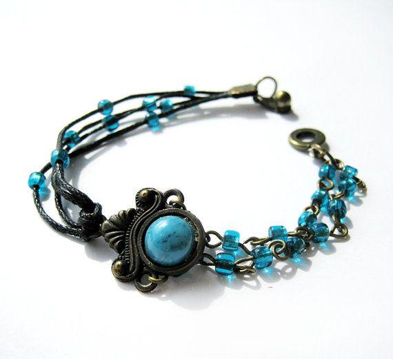 Boho beaded bracelet Turquoise beads bracelet Cord by OllyBijou