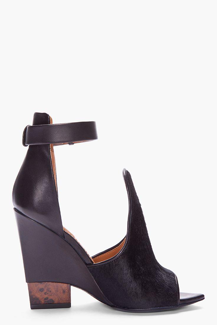 Givenchy Black Calf Hair Podium Sandals