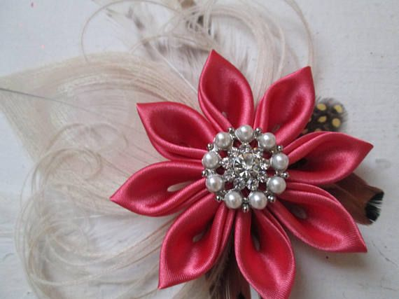 Coral & Ivory Wedding Fascinator Coral and Champagne Peacock