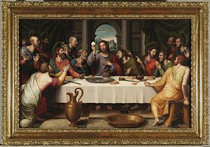 """Nos encontramos ante un cuadro realizado por Juan de Juanes, hacia 1562, titulado """"La Santa Cena""""."""
