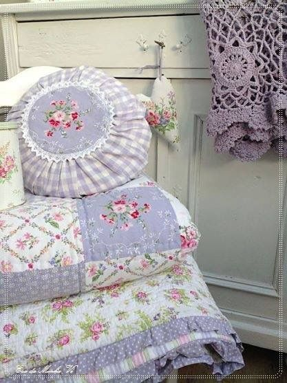 fabric patterns - crocheted spread - round pillow