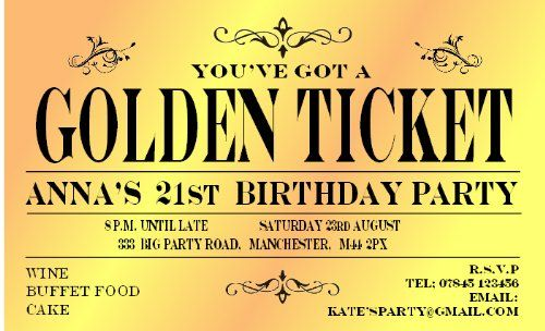23 best willy wonka party images on pinterest willy wonka 50 birthday invitations personalised for you magnetic golden ticket invites for 18th 21st 30th 40th filmwisefo