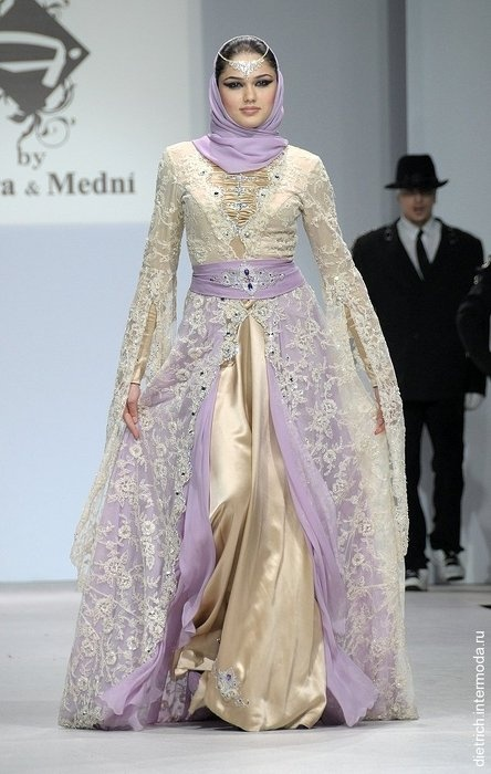 Traditional Chechen dess from the Firdaws collection by Chechen designers Laura and Hedi Medni. - Chechnya