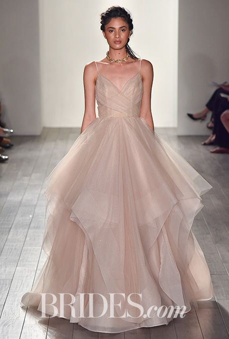 """Hayley Paige - Fall 2017. """"Gemini,"""" moonbeam organza wedding dress with galactic shoulder studs by Hayley Paige"""