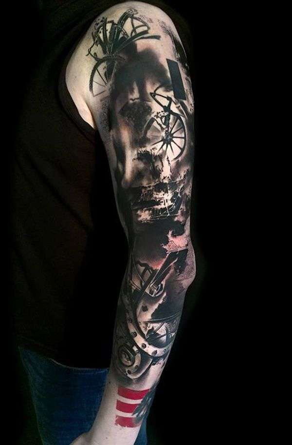 Great looking Trash Polka sleeve tattoo by Simone Pfaff and Volko Merschky. The awesome combination of events happening in the tattoo as if telling a story is what makes it look twice as amazing as it already is.