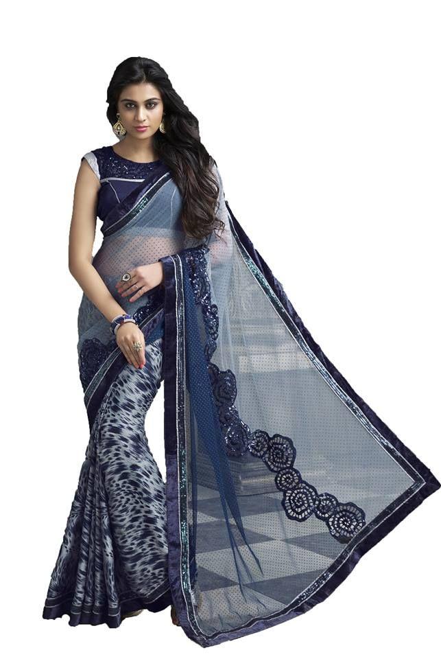 Higglerr Beige net heavy embroidered saree