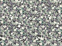 Floral Pandas Cotton Grey