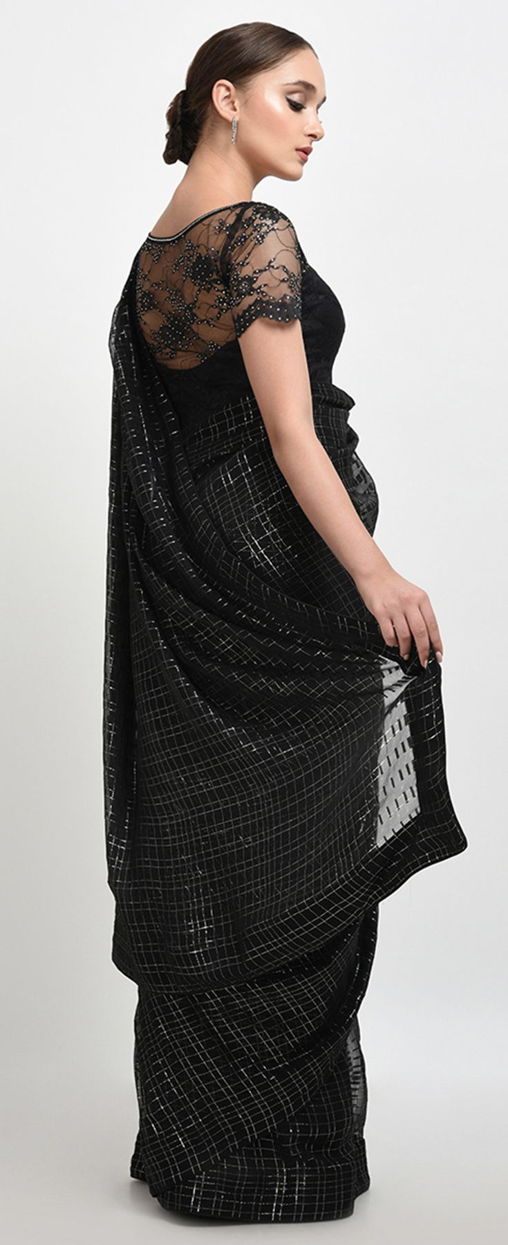83454c42 French Chiffon Black-Silver Check Saree With Crystal Lace Blouse ...
