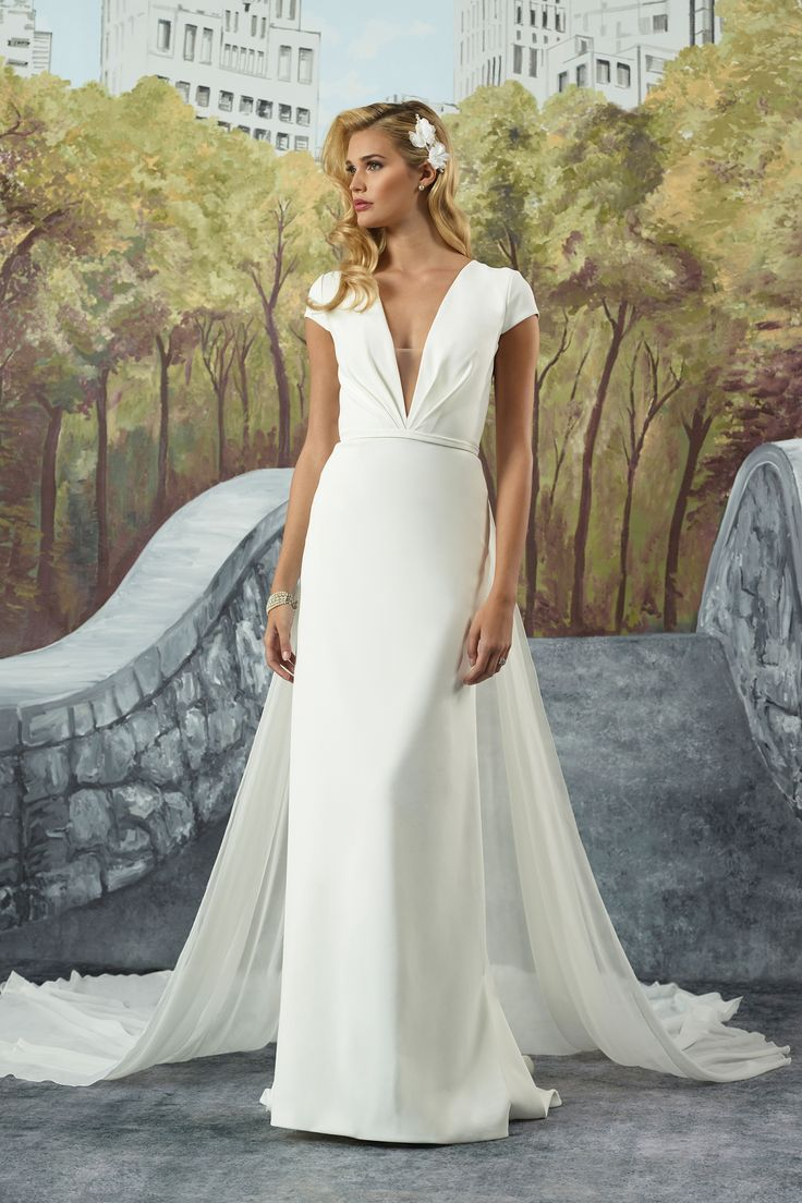 Crepe Straight Gown with Detachable Chiffon Train