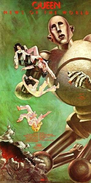 Queen - News of the World. The striking image of the band adapted from a painting by esteemed American science-fiction artist Frank Kelly Freas. Kelly Freas was traced and loved the idea of his robot being adapted to this unlikely scenario. He willingly agreed to alter the picture.