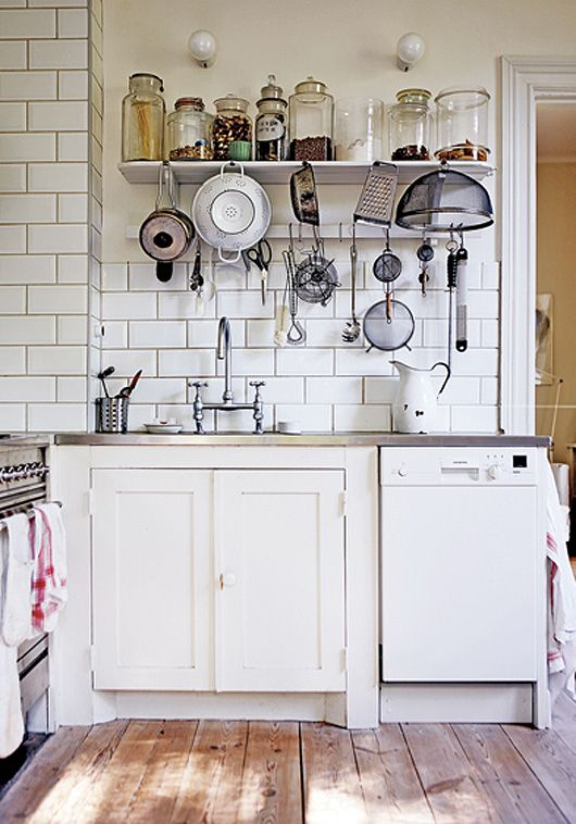Amazing 1890 Swedish Schoolhouse Turned Into A Rustic Home : Rustic Home With White Kitchen Wall Sink Oven Stove Cabinet Appliances Harwdood Floor And Lamp Design