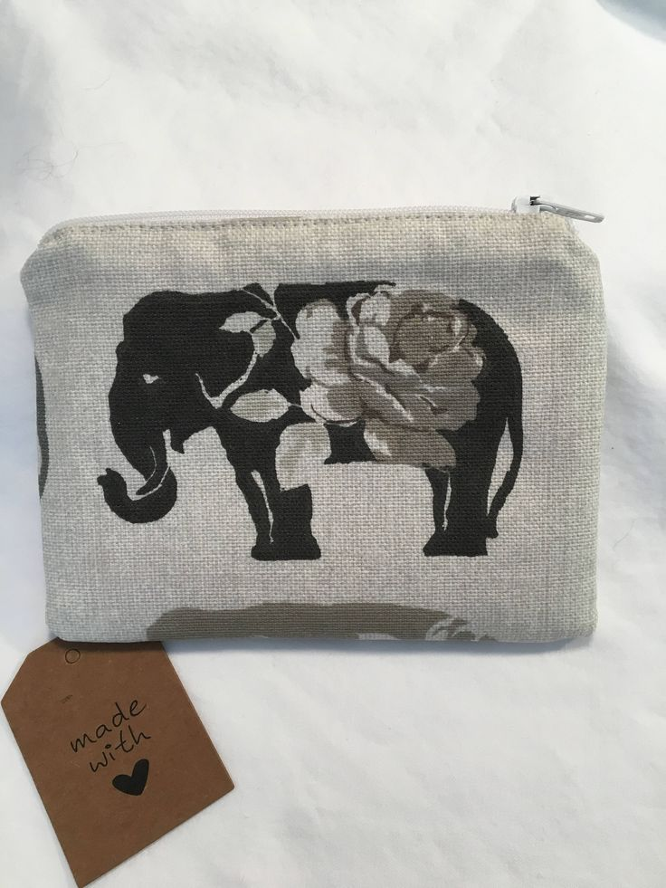 Excited to share the latest addition to my #etsy shop: Elephant coin purse, zip purse, zip pouch, zipped pouch, fabric purse, animal purse, gift for her, gift for teen, change purse, change pouch