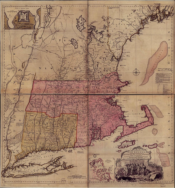 A Map Of The Most Inhabited Part Of New England Containing The Provinces Of Massachusets