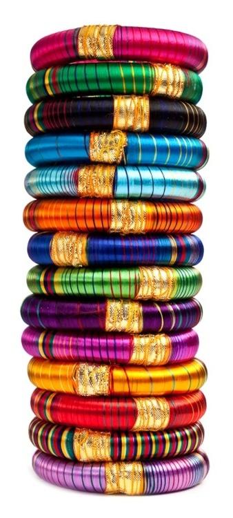 Gypsy style ~ Bhangra Striped Bangles, India