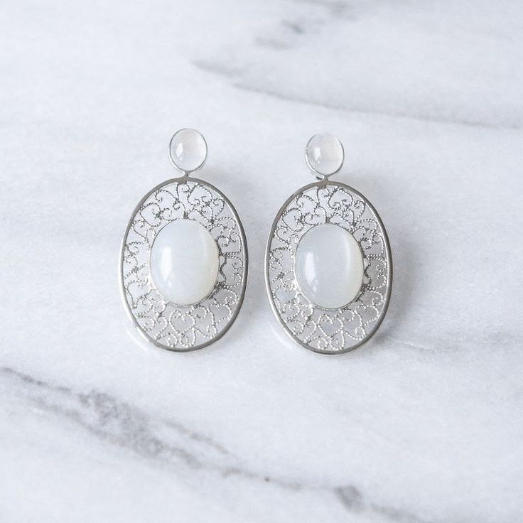 Filipa Earrings Silver White via Filirose. Click on the image to see more!