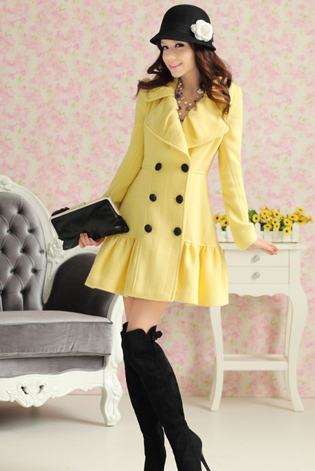 LOVE the hat, coat ... Not so much the boots: Cute Coats, Knee High Boots, Color, Black Boots, Super Cute, Yellow Coats, Yellow Jackets, Winter Coats, Wool Coats