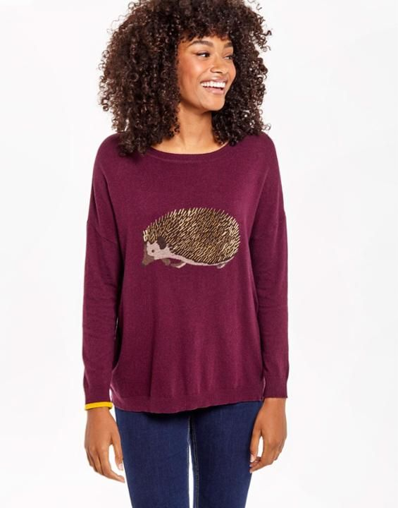 MERYL LUXE Dropped Shoulder Intarsia Sweater