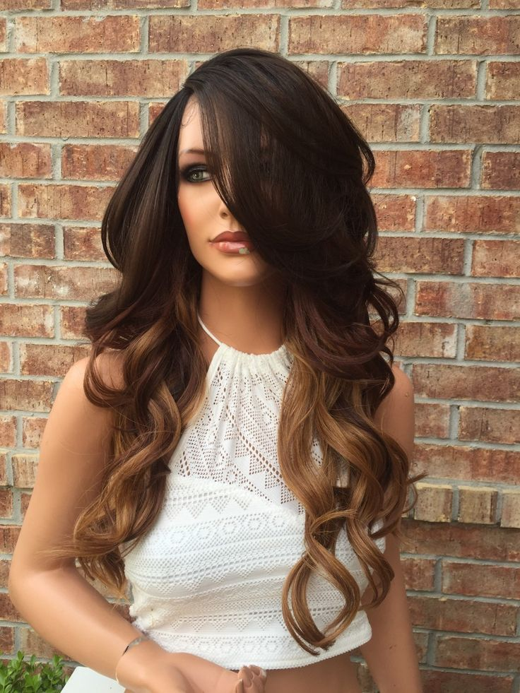|Bella Hair Company| Stunning Curly Waves, Natural Hair. Medium length soft, wave curl human hair blend lace front wig. Lots of volume and styling options. Beautifully crafted with blended human hair,