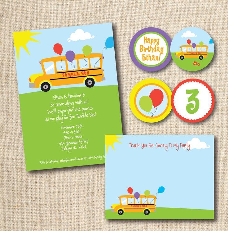 tumble bus birthday party invitation  wheels on the bus