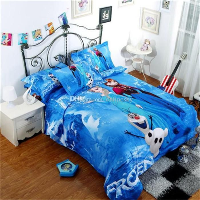 Wholesale 3D cartoon kid child bedding sets Princess Elsa & Anna Olaf Frozen bed set 3pcs/4pcs bed set twin/single/double/queen size, Free shipping, $69.55/Piece | DHgate Mobile