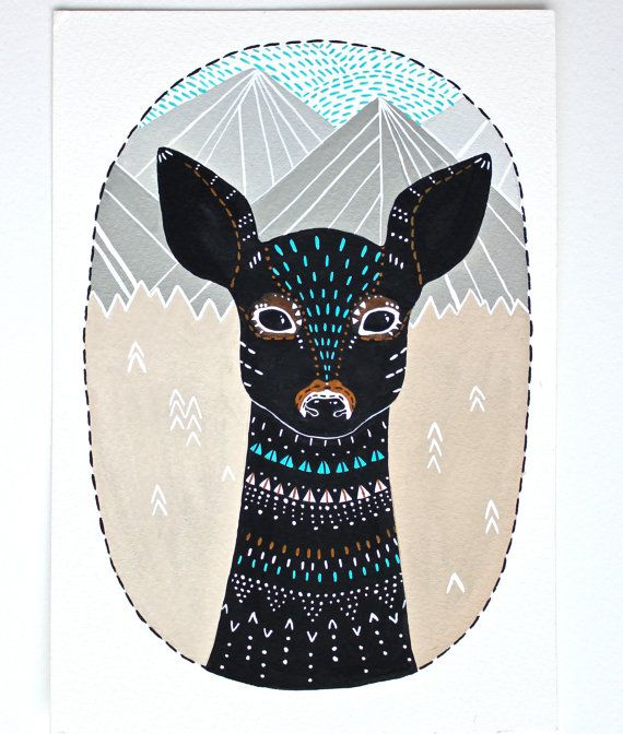 Deer Illustration Painting  Small Archival Print  by RiverLuna, $10.00
