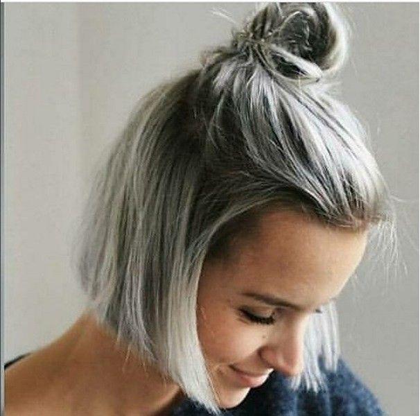 Half Up silber grau frisuren