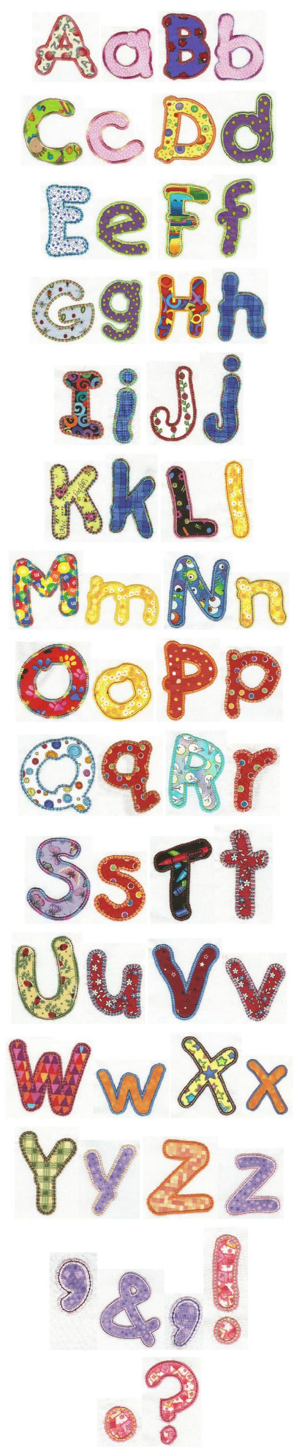 Embroidery | Free Machine Embroidery Designs | Kids Applique Alphabet