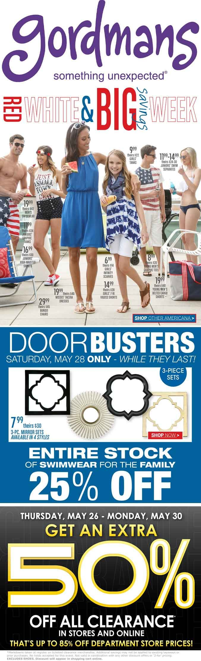 Pinned May 28th: Extra 50% off clearance at #Gordmans ditto online #TheCouponsApp