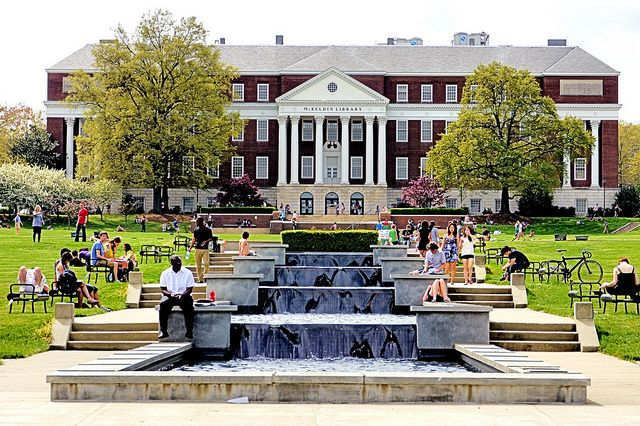 McKeldin Mall fountain at University of Maryland. This 16 feet by 250 feet fountain honors members of the campus chapter of the Omicron Delta Kappa honor society. Each fountain tier represents one of the leadership qualities found in ODK members. Engravings around the fountain include quotations from Franklin Delano Roosevelt and Martin Luther King, Jr., the symbol of ODK, and a listing of fraternity members from the university.