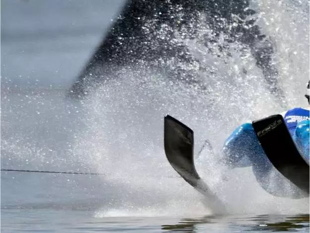 TOPSHOTS Stephen Collins from Canada participates in the men's jump eliminatories of the World Water Skiing Championship in Los Morros lake, some 30 km south of Santiago, Chile, on November 29, 2013.  TOPSHOTS/AFP PHOTO/MARTIN BERNETTIMARTIN BERNETTI/AFP/Getty Images