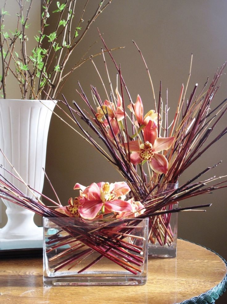 orchids and twigs contemporary floral arrangements