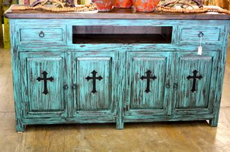like this idea  dresser turned tv center love the cross cutouts on doors  a little to much distressed look Western Decor   Rustic Tables   Southwestern Furniture   Agave Ranch -