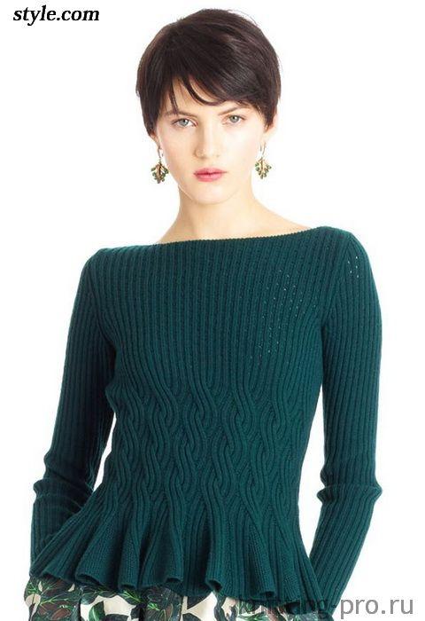 Пуловер с баской от Оскар де ла Рента - knitting-pro.ru - От азов к мастерству