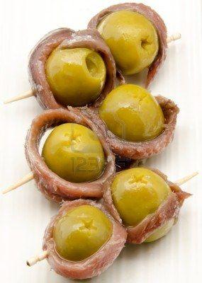 Aceitunas con anchoas- aperitivo