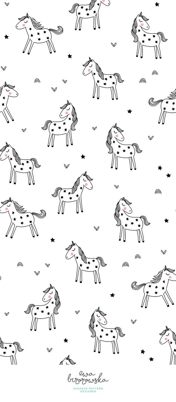 Minimalistic textile surface pattern design for girls with the motif of black and white unicorn in scandinavian style.