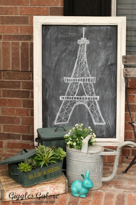 Diy Chalkboard Eiffel Tower Springtime In Paris Home Decor