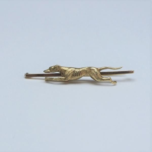 Yellow Gold Victorian Greyhound Bar Brooch