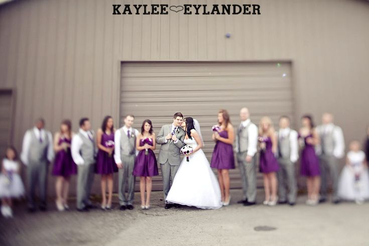 Lord hill farm purple grey wedding i love the outfits for Purple and grey wedding dresses