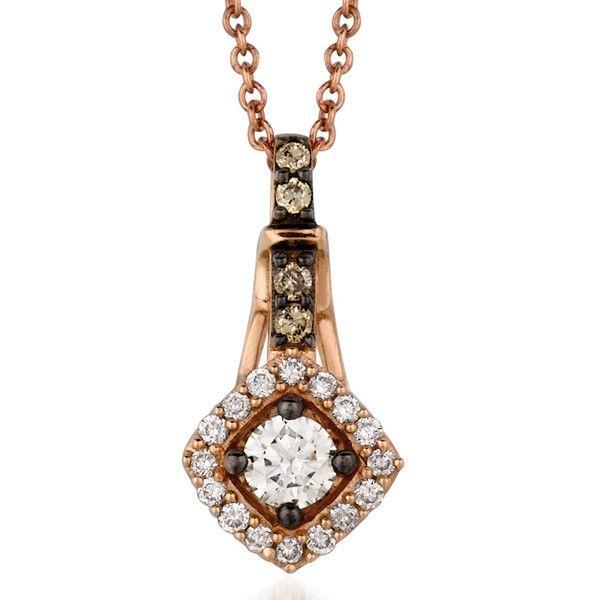 "Le Vian® 0.26 Carat Chocolate & Vanilla Diamond® Petite Square Halo Pendant in 14K Strawberry Gold® on an 18"" Rose Gold Chain. YQEN 52"