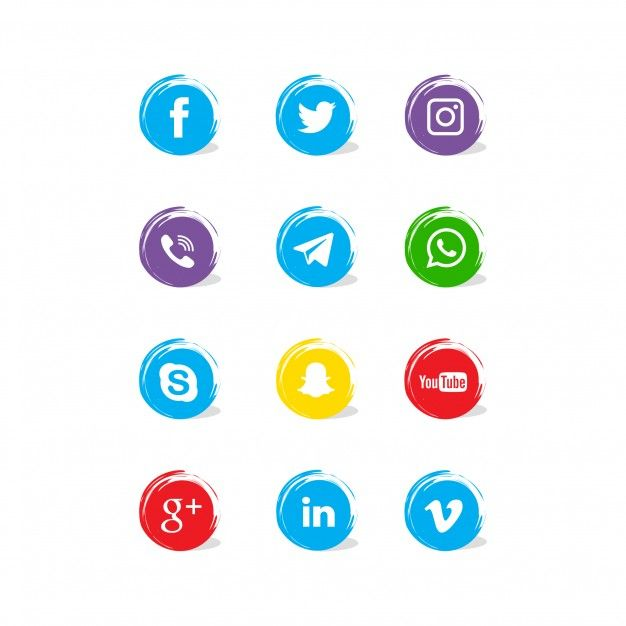 Scial network icons collection Free Vector