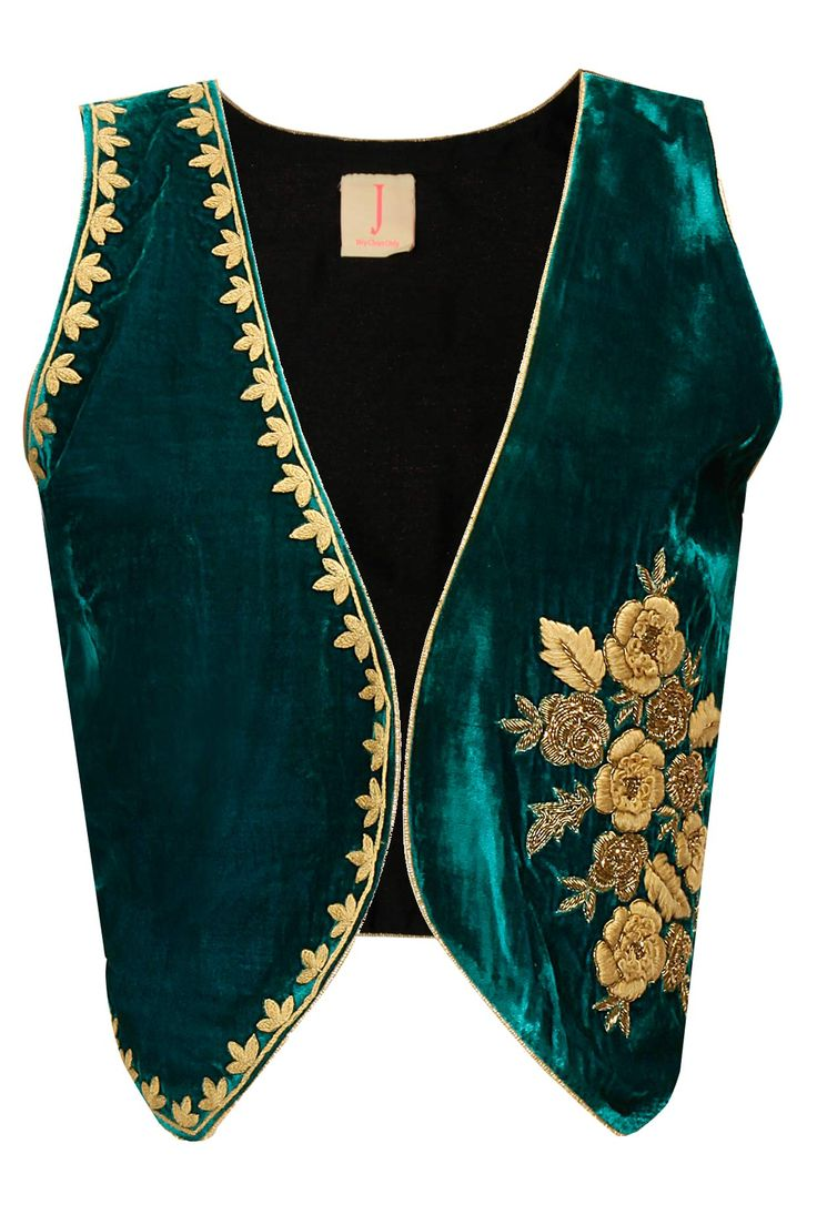 Green floral embroidered waist coat available only at Pernia's Pop-Up Shop.