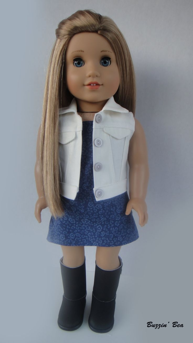 Strapless Midnight Blue Dress and White Vest - American Girl Doll Clothes