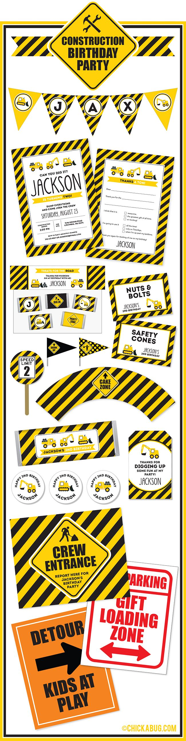Construction theme birthday party invitations, water labels, stickers, and DIY party printables from Chickabug.com!